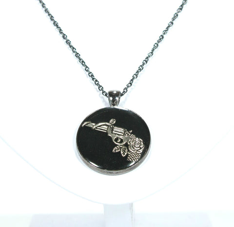 Gun with Rose Necklace - Defiant Jewelry