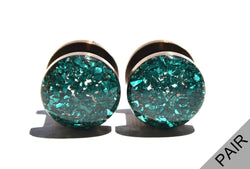 Emerald Crushed Glass Plugs - Defiant Jewelry