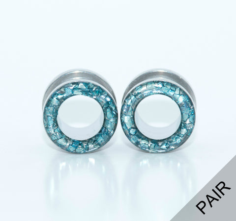 Ice Blue Crushed Glass Tunnels - Defiant Jewelry
