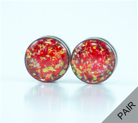 Red Holographic Plugs - Defiant Jewelry