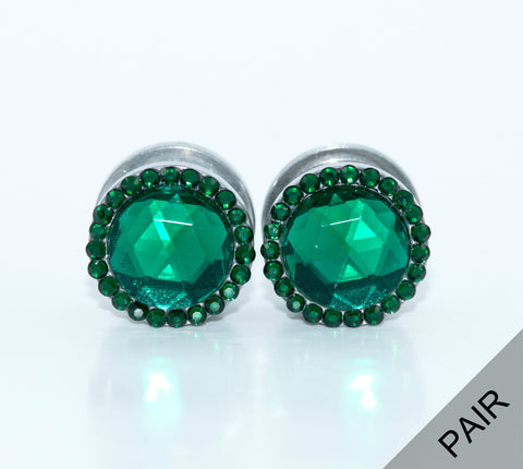 Emerald Crystal Plugs - Defiant Jewelry