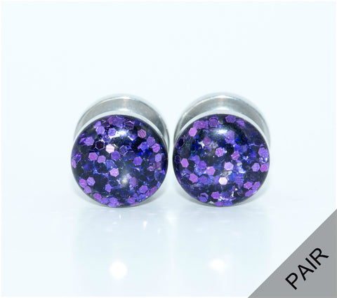 Purple Glitter Sparkle Plugs - Defiant Jewelry