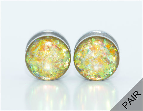 Yellow Holographic Plugs - Defiant Jewelry