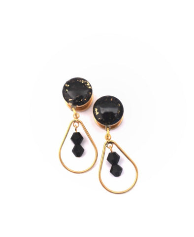 Black Crushed Glass on Gold Dangle Plugs - Defiant Jewelry