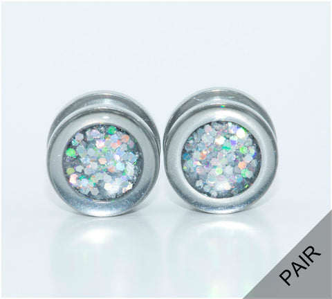 Silver Iridescent Sparkle Plugs - Defiant Jewelry