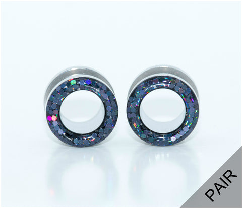 Black Iridescent Glitter Plugs - Defiant Jewelry