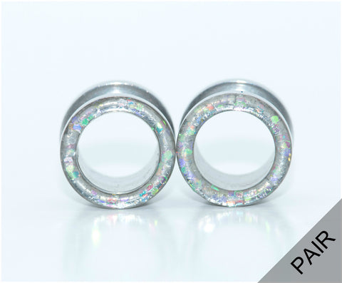 Iridescent Glitter Tunnel Plugs - Defiant Jewelry