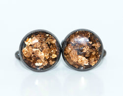 Bronze Gold Flake Cufflinks - Defiant Jewelry