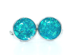Blue Holographic Cufflinks - Defiant Jewelry