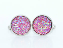 Crushed Pink Sparkle Cufflinks - Defiant Jewelry