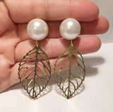 Pearl Leaf Dangle Plugs - Defiant Jewelry