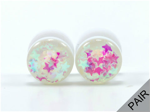 Iridescent Star Acrylic Plugs - Defiant Jewelry