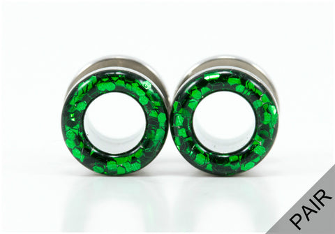 Emerald Green Sparkle Plugs - Defiant Jewelry