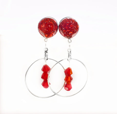 Red Crushed Glass Hoop Dangle Plugs - Defiant Jewelry