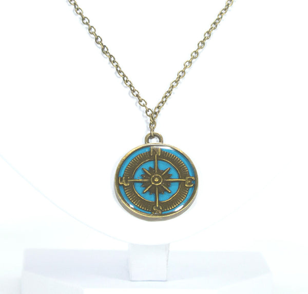 Compass Necklace in Blue - Defiant Jewelry