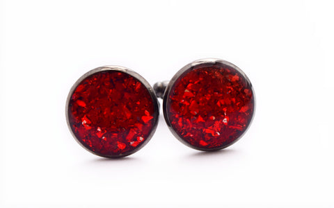 Red Crushed Glass Cufflinks - Defiant Jewelry
