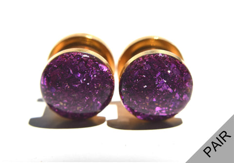 Royal Purple Crushed Glass Plugs - Defiant Jewelry