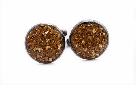 Gold Crushed Glass Cufflinks - Defiant Jewelry