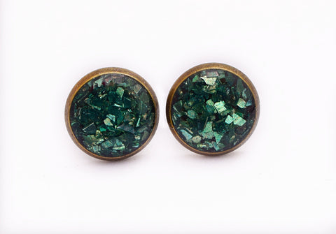 Jade Green Crushed Glass Earrings - Defiant Jewelry