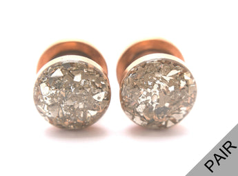 Silver Crushed Glass Plugs - Defiant Jewelry