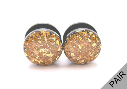 Gold Crushed Glass Plugs - Defiant Jewelry