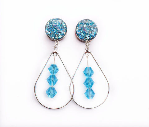 Blue Crushed Glass Dangle Plugs - Defiant Jewelry