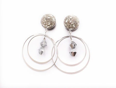 Silver Crushed Glass with Rotating Hoops Dangle Plugs - Defiant Jewelry