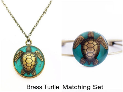 Turtle Necklace and Bracelet Matching Set - Defiant Jewelry