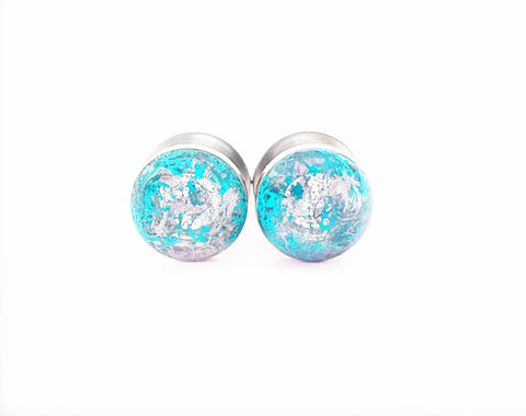Teal & White Marbled Plugs - Defiant Jewelry