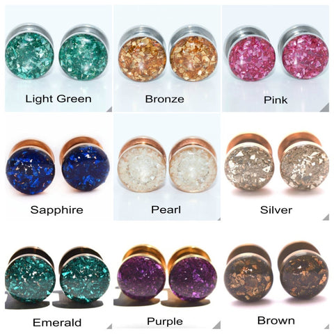 Crushed Glass Plugs Set - Defiant Jewelry