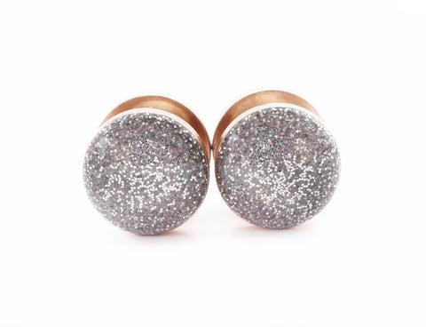 Silver Sparkle Plugs shown on Rose Gold - Defiant Jewelry