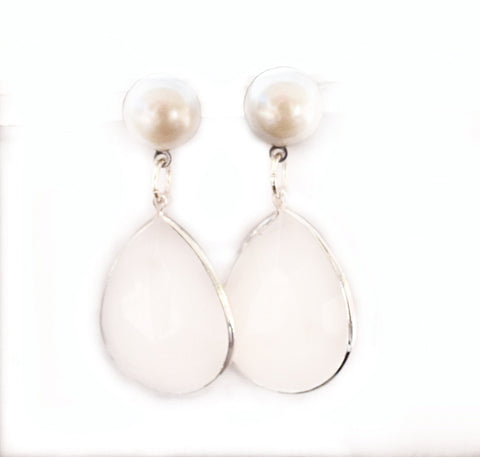 Pearl Stud Earrings with White Stone Dangle - Defiant Jewelry
