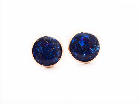 Sapphire Blue Crushed Glass Earrings - Defiant Jewelry