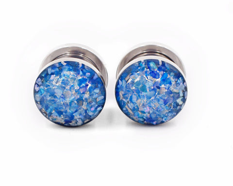 Blue Crushed Shell Plugs - Defiant Jewelry