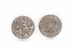 Silver Crushed Glass Earrings - Defiant Jewelry