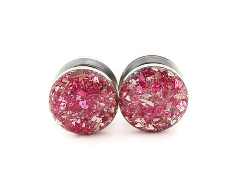 Pink and Silver Crushed Glass Plugs - Defiant Jewelry