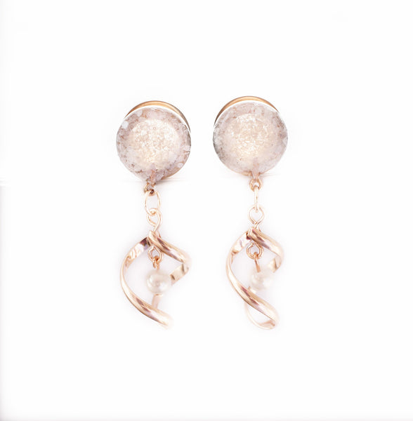 Pearl Glass with Pearl Twist Dangle Plugs - Defiant Jewelry