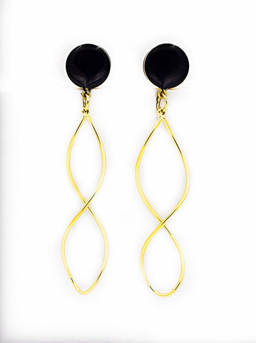 Black and Gold Infinity Twist Dangle Plugs - Defiant Jewelry