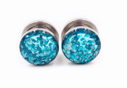 Aqua Blue Crushed Glass Plugs - Defiant Jewelry