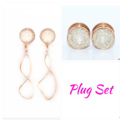 Pearl Crushed Glass Plugs and Dangle Set - Defiant Jewelry