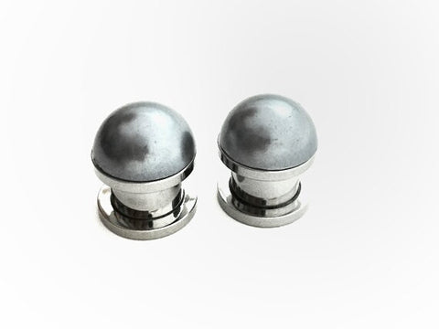 Dark Grey Pearl Plugs - Defiant Jewelry