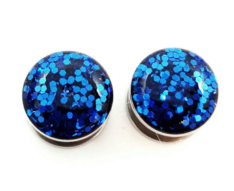 Sapphire Blue Sparkle Plugs - Defiant Jewelry