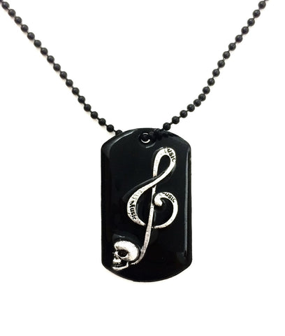 Skull Music Note Dog Tag Necklace - Defiant Jewelry