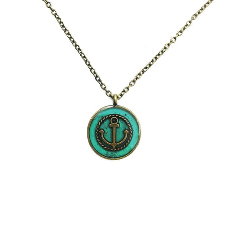 Small Brass Anchor Necklace - Defiant Jewelry