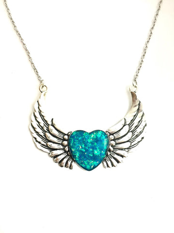 Blue Holographic Heart and Wing Necklace - Defiant Jewelry