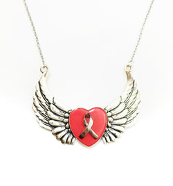 Breast Cancer Heart and Wing Necklace - Defiant Jewelry