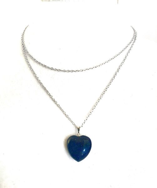 Blue Sandstone Heart Necklace - Defiant Jewelry