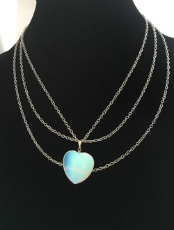 Opalite Heart Necklace - Defiant Jewelry