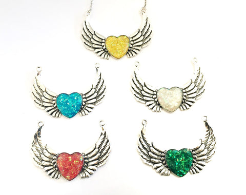 Holographic Heart and Wing Necklace - Defiant Jewelry