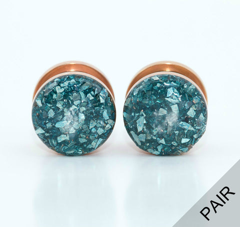 Blue Crushed Glass Plugs shown on Rose Gold Base - Defiant Jewelry